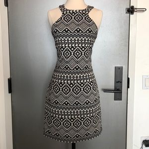 Black and white Aztec print party dress